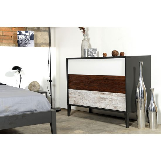 Read more about Cappolo wooden oak 3 drawer chest of drawers with black panels