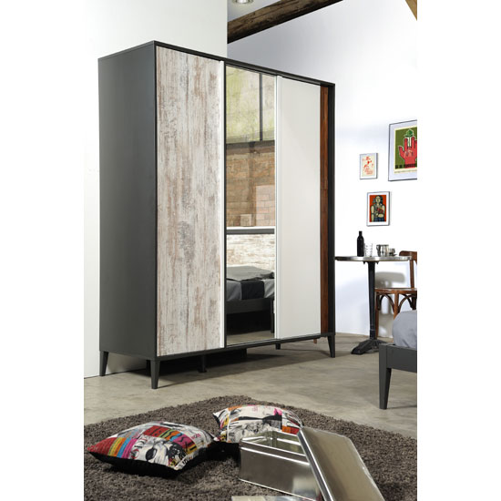 Cappolo Wooden Oak 3 Door Wardrobe With Mirror In Middle