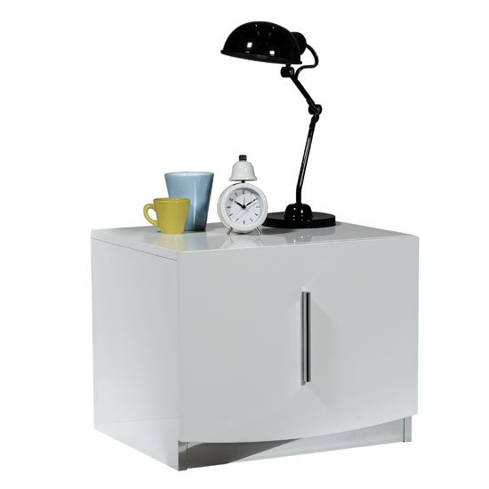 Caly Gloss White Bedside Cabinet With Drawer And Chrome Handle