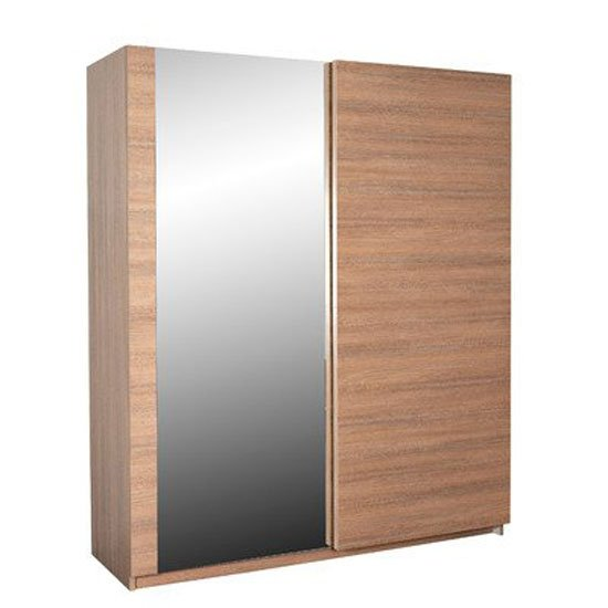 Azura Sliding Wardrobe In Glossy Oak With Mirror