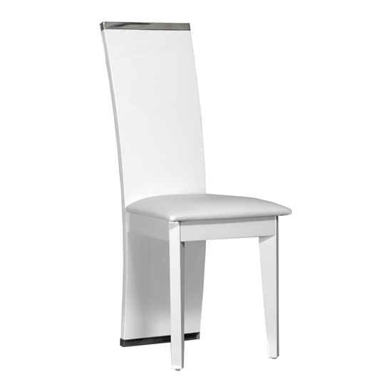 Smooth White Faux Leather Dining Chair With High Gloss Frame