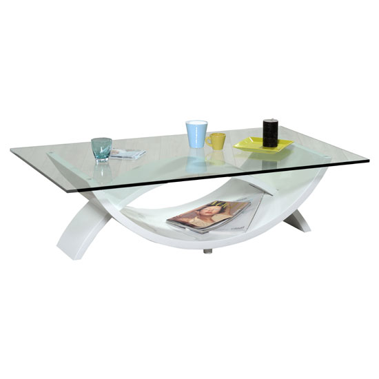 Smooth Glass Top Coffee Table With White High Gloss Base
