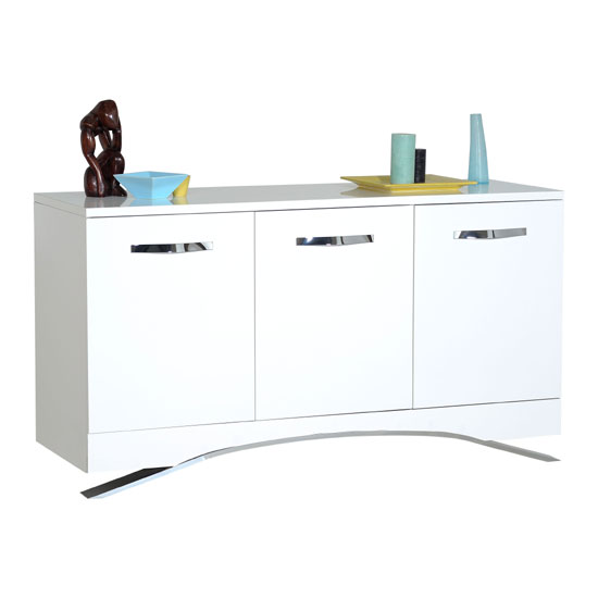 Smooth High Gloss White Sideboard With 3 Doors