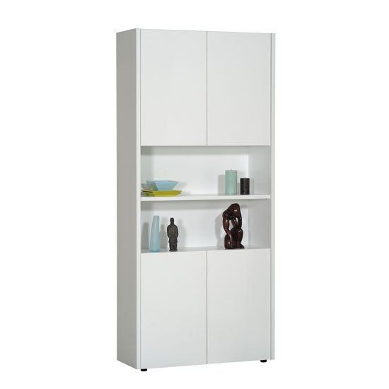 Smooth White 4 Doors Display Cabinet With 2 Open Shelf