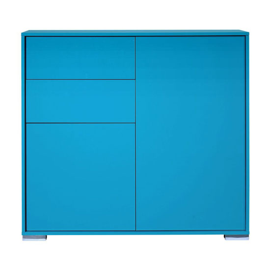 Novi Shiny Blue Finish 2 Door Sideboard With 2 Drawers