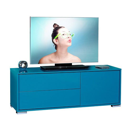 Novi Blue Finish 1 Door LCD TV Stand With 2 Drawer