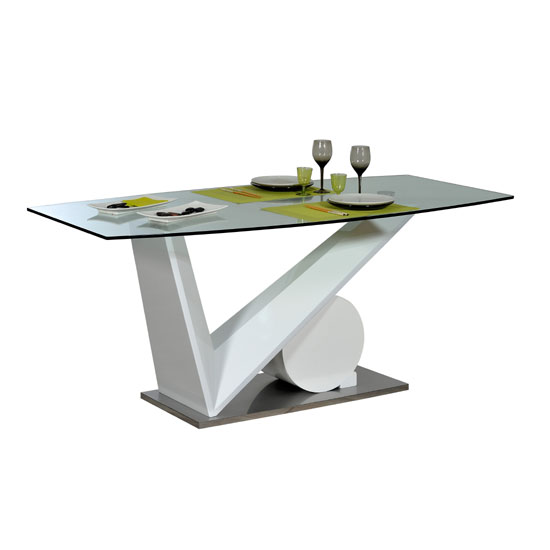 Brooky Glass Top V Shape White Sheen Base Dining Table Only