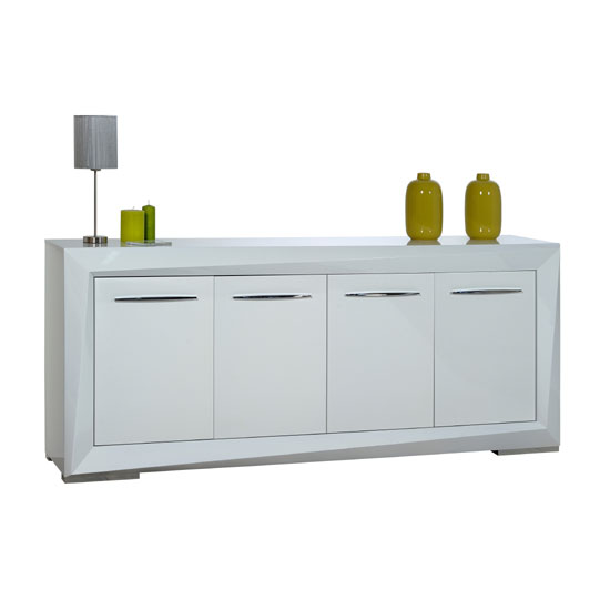 Brooky White Sheen Finish Sideboard With 4 Doors