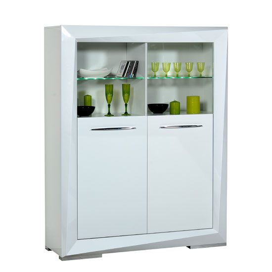 Brooky White Sheen Finish Display Cabinet With 2 Door