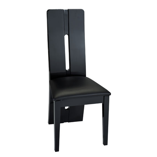 Fiesta Black High Gloss Finish Faux Leather Dining Chair