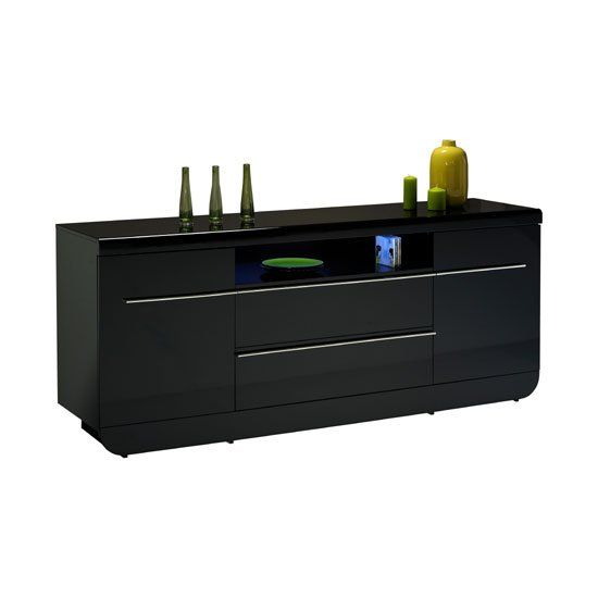 Fiesta Black High Gloss Large Sideboard With 2 Door And 2 Drawer