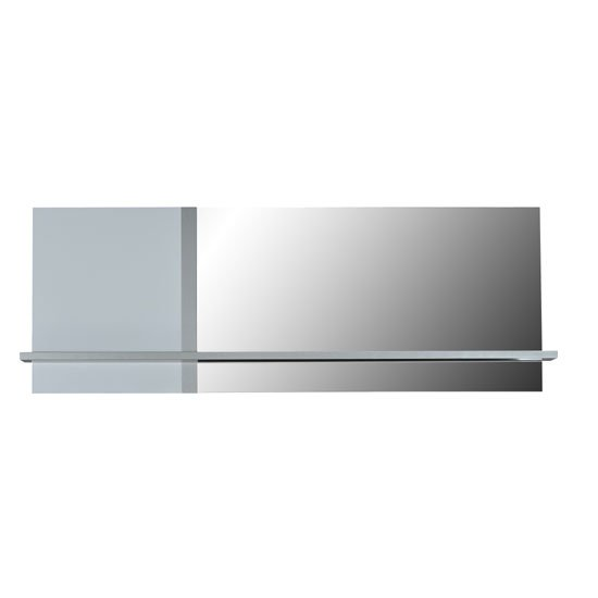 Crossana Wall Mirror In Stainless Lacquered Paper With 1 Shelf
