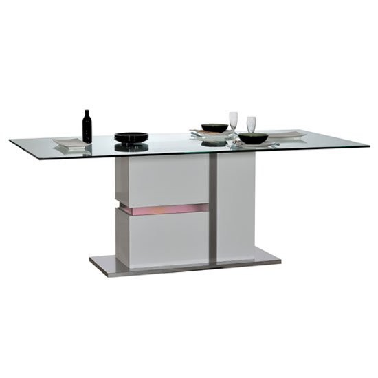 Crossana Dining Table In Clear Glass Top With LED Light