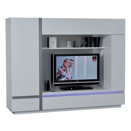 Crossana Entertainment Unit In White High Gloss With LED Light