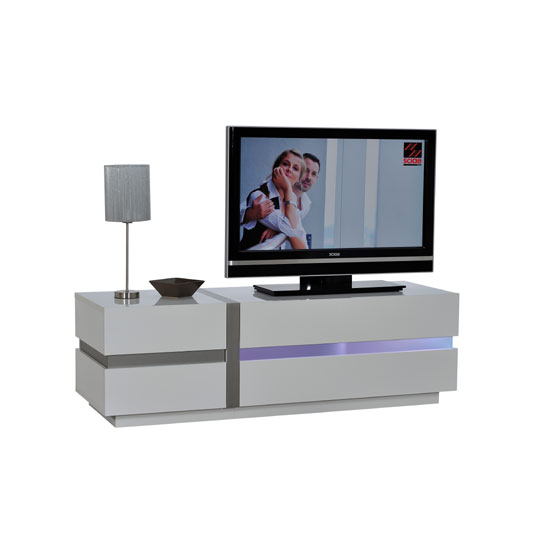 Crossana Small TV Stand In White Gloss With 2 Door And LED Light