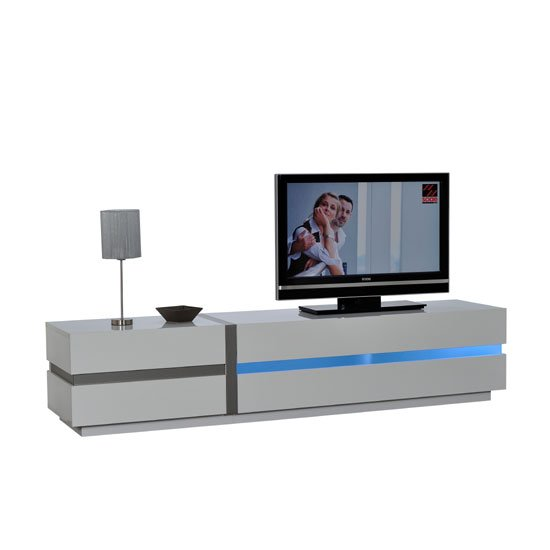 Crossana LCD TV Stand In White Gloss With 2 Door And LED Light