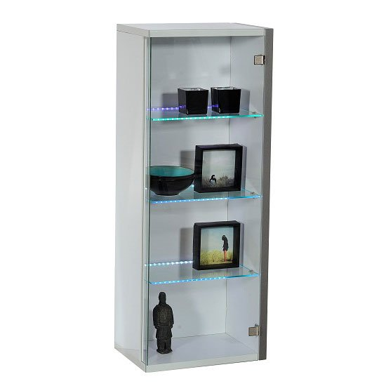 Crossana Wall Mount Glass Door Display Cabinet In White Gloss