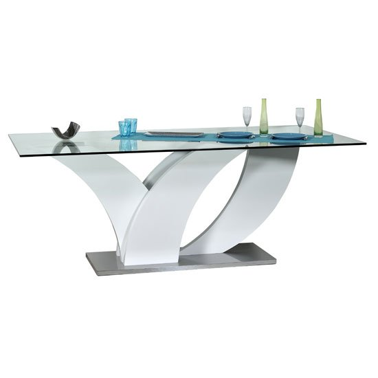 Eclypse Dining Table In Clear Glass Top With White Gloss Base