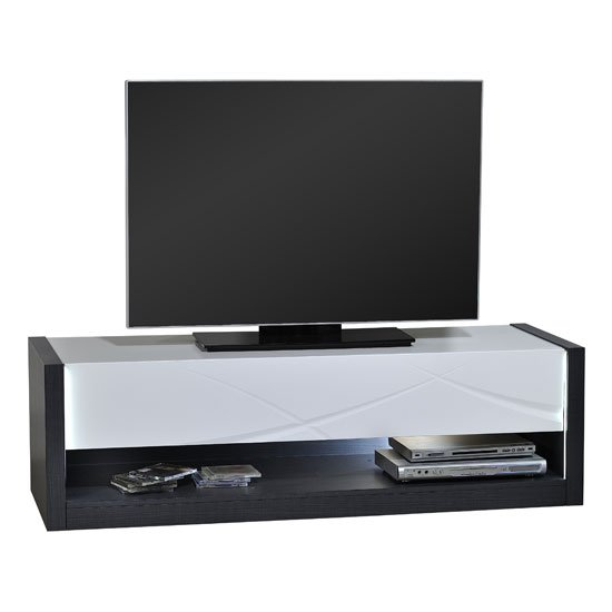 Eclypse TV Stand In Dark Grey With White Gloss Drawer And Lights