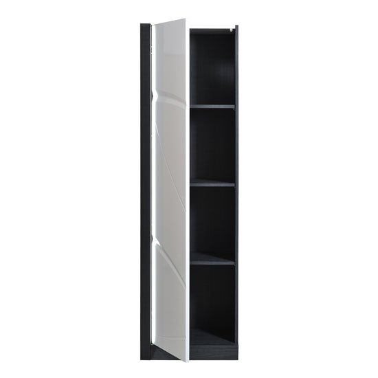 Eclypse Storage Cabinet In Grey With White Gloss Door And Lights