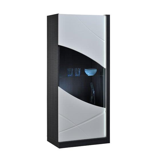 Eclypse Display Cabinet In Dark Grey With Glass Door And Lights