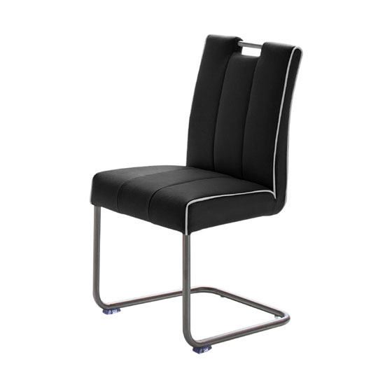 Read more about Wilson black faux leather metal swinging dining chair