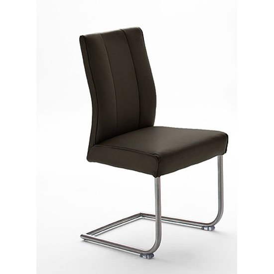 Alamona 1 Dining Chair In Brown Faux Leather
