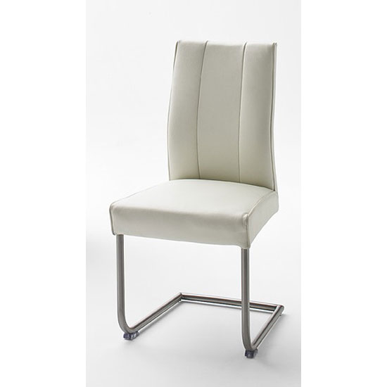 Alamona 1 Dining Chair In White Faux Leather