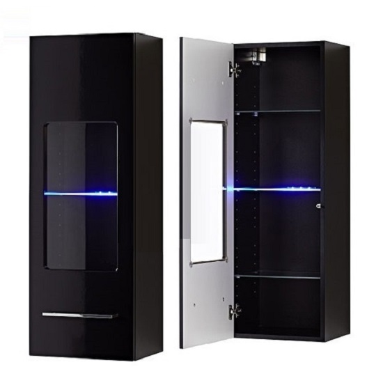 cool wall mount display cabinet in black gloss with led light features