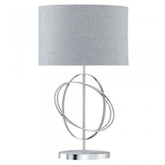Rings Chrome Table Lamp With Silver Linen Drum Shade
