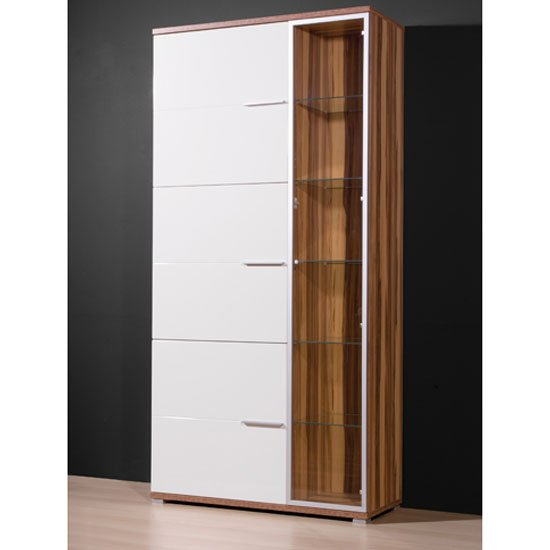 Nevada Glass Display Cabinet In Walnut And White With 4 Doors