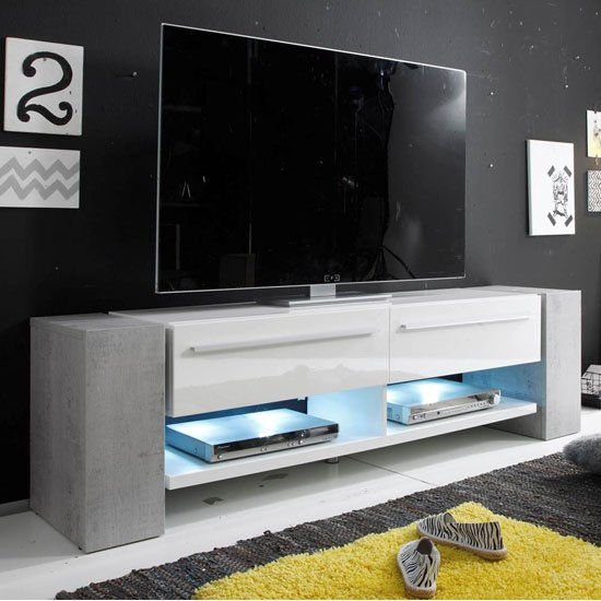 Time LCD TV Stand In Stone Decor With Gloss White Front And LED