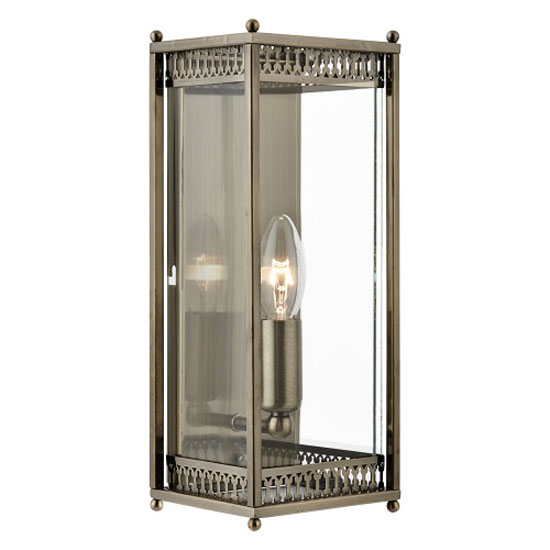 Rectangular Antique Brass Wall Light With Clear Glass Shade