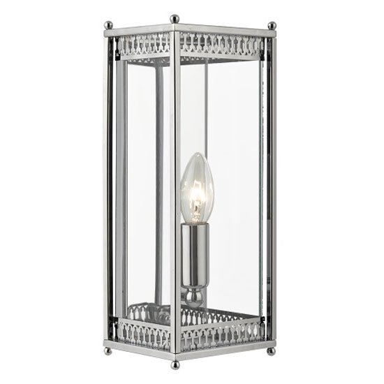 Chrome Finish Rectangular Wall Light With Clear Glass Shade