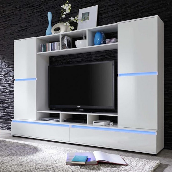 Texas Entertainment Unit In White Gloss Fronts With LED lighting £549.95