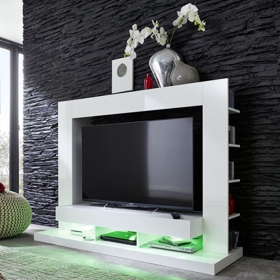 Read more about Stamford entertainment unit in white gloss fronts with shelving
