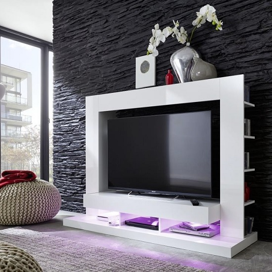 Stamford Entertainment Unit In White Gloss Fronts With Shelving_4