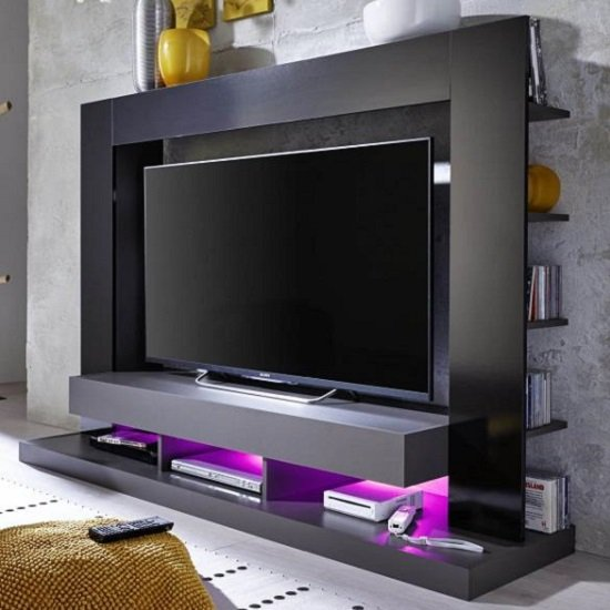 Stamford Entertainment Unit In Black Gloss Fronts With Shelving_5