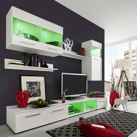 Westbourne Living Room Set In White Gloss Fronts With LED_3