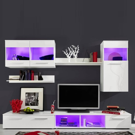 Westbourne Living Room Set In White Gloss Fronts With LED_4
