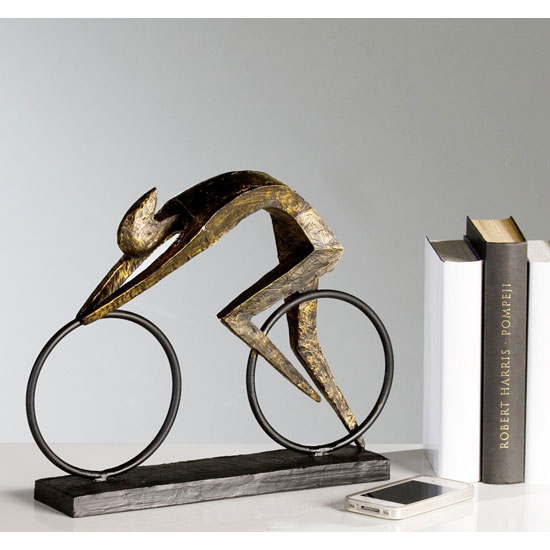 Racer Sculpture In Bronze With Black Metal Base