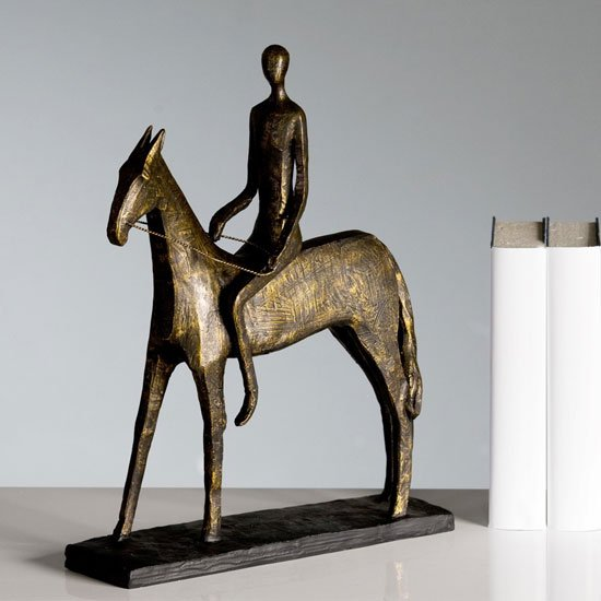 Rider Sculpture In Bronze With Black Metal Base