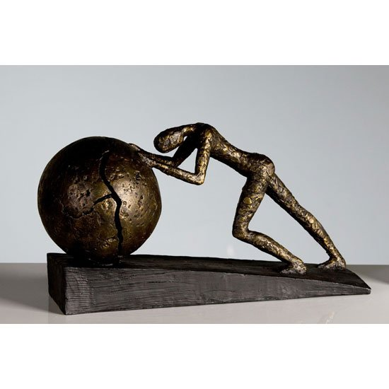 Heavy Ball Sculpture In Bronze With Black Metal Base