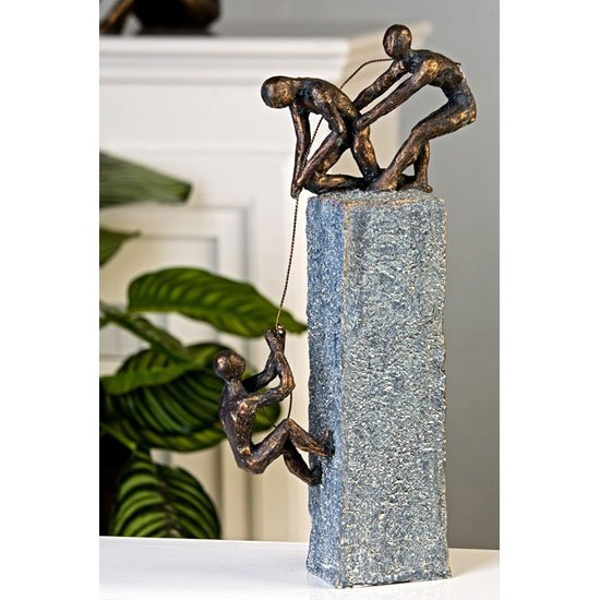 Assistance Sculpture In Bronze With Antique Grey Base