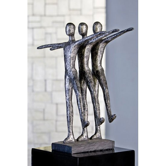 Ballett Sculpture In Antique Silver With Black Base