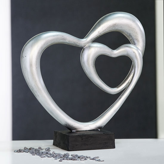 Double Heart Sculpture In Silver With Black Base