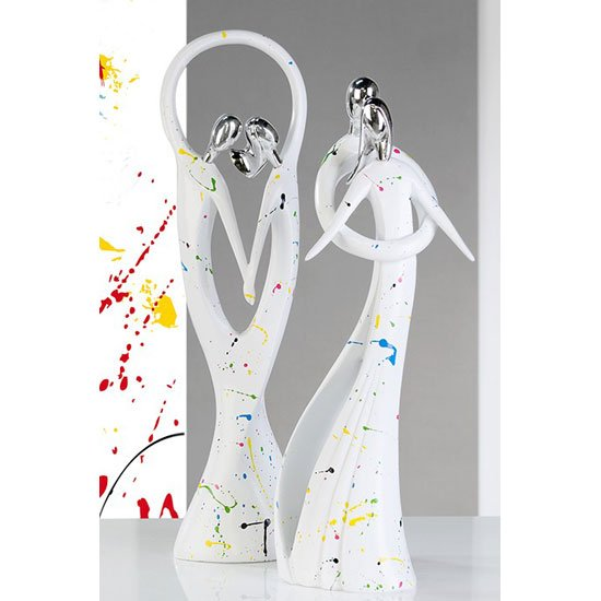Tango Sculpture In White With Coloured Splashes