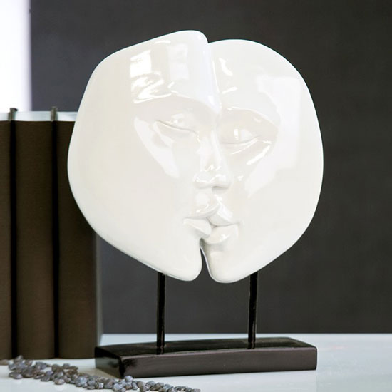 Faces Sculpture In Shiny White With Black Base