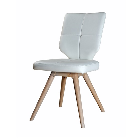 Peora Dining Chair In White Faux Leather With Wooden Legs