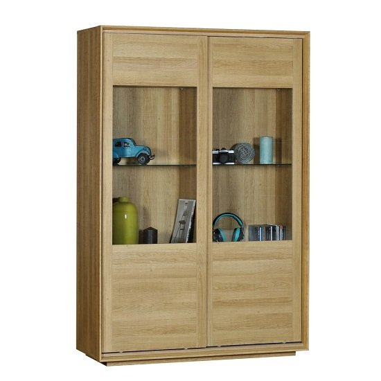 Peora Glass Display Cabinet In Oak With 2 Sliding Doors